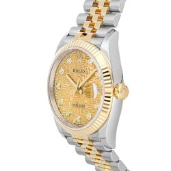 Rolex Champagne Diamonds 18K Yellow Gold And Stainless Steel Datejust 126233 Men's Wristwatch 36 MM