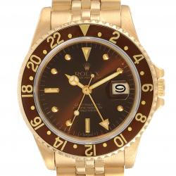 Rolex Brown 18K Yellow Gold GMT Master Rootbeer 16758 Men's Wristwatch 40 MM