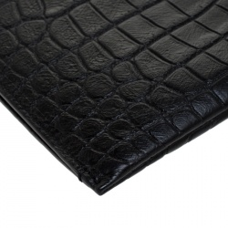 Saint Laurent Black Croc Embossed Zipped Tablet Holder