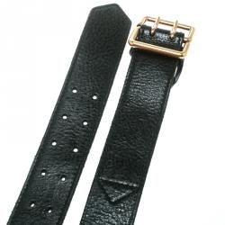 Saint Laurent Black Leather Buckle Belt 100 CM