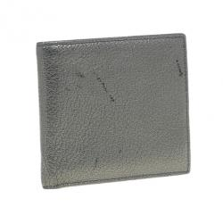 Saint Laurent Paris Silver Metallic Leather Bifold Wallet