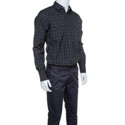 Saint Laurent Paris Grey Checkered Wool Long Sleeve Shirt M
