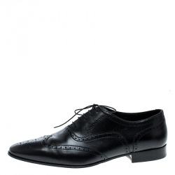 Saint Laurent Paris Black Brogue Leather Oxfords Size 44.5