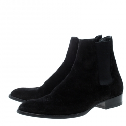 Saint Laurent Paris Black Suede Wyatt Chelsea Ankle Boots Size 41
