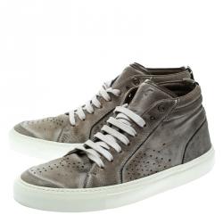 Saint Laurent Paris Grey Distressed Leather Sneakers Size 40.5