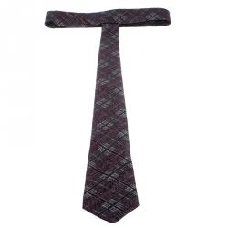 Salvatore Ferragamo Burgundy Textured Wool and Silk Bordeaux Tie