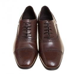 Salvatore Ferragamo Brown Leather Brogue Oxfords Size 41.5
