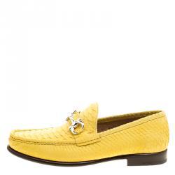 91f1ca60ecb5 Salvatore Ferragamo Yellow Python Mason Loafers Size 44