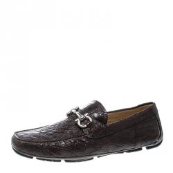 f3717acda9e Salvatore Ferragamo Brown Crocodile Leather Parigi Bit Loafers Size 44