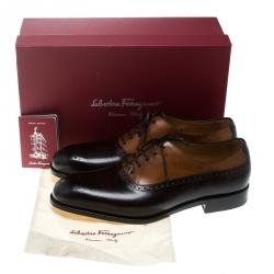 Salvatore Ferragamo Special Edition Two Tone Brogue Leather Oxfords Size 43.5