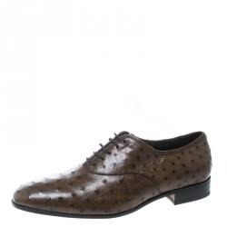 Salvatore Ferragamo Light Brown Ostrich Leather Gris Oxfords Size 43.5