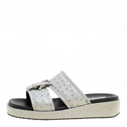 7c13386876f2 Salvatore Ferragamo Grey Ostrich Leather Lutfi Platform Slides Size 40.5