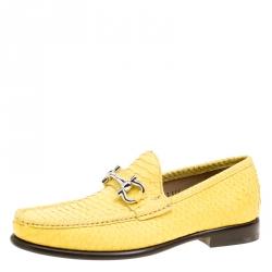 93a8cde6b15ac2 Salvatore Ferragamo Yellow Python Mason Loafers Size 41