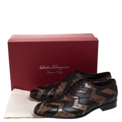 حذاء أكسفورد سالفاتوري فيراغامو غريس جلد عجل ونعام بني لونين مقاس 43.5