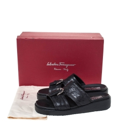 Salvatore Ferragamo Black Ostrich Leather Lutfi Platform Slides Size 40
