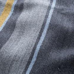 Salvatore Ferragamo Grey Striped Wool and Silk Fringed Edge Muffler