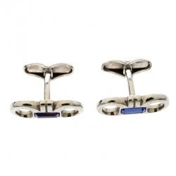 Salvatore Ferragamo Blue Crystal Silver Tone Double Gancio Bar Cufflinks