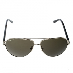 Salvatore Ferragamo Gold/Green SF144SL Aviator Sunglasses