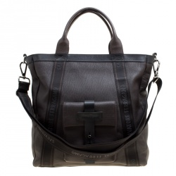 Salvatore Ferragamo Dark Brown Pebbled Leather Top Handle Bag
