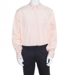 Salvatore Ferragamo Orange and White Striped Cotton Long Sleeve Button Down Shirt XXL