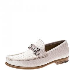 dceb5fda225 Salvatore Ferragamo Light Beige Ombre Python Mason Loafers Size 41