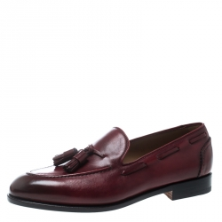 2f1f422b01a Salvatore Ferragamo Maroon Leather Loreno Tassel Loafers Size 43