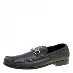 ef4dad36bc Salvatore Ferragamo Black Leather Gancini Driver Loafers Size 45