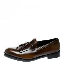 8c9333b8b9d8 Salvatore Ferragamo Brown Leather Tassel Loafers Size 43.5