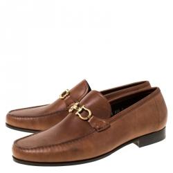 Salvatore Ferragamo Brown Leather Mason Loafers Size 43