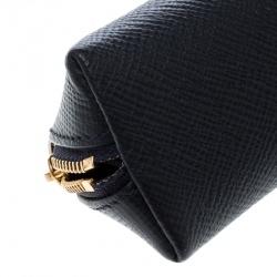 Smythson Dark Blue Leather Panama Pencil Case