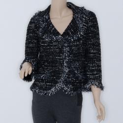 St. John Black Stretch Tweed Knit Jacket US4