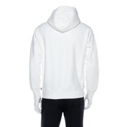 Supreme White Cotton Tent Leather Arc Logo Hoodie S