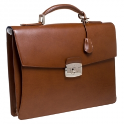 S.T. Dupont Brown Leather Atelier Line D One Gusset Briefcase