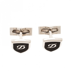 S.T. Dupont Blazon Black Lacquer Silver Tone Cufflinks