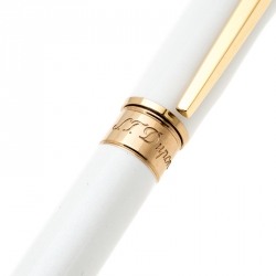 S.T. Dupont Line D Pearly White Lacquer Gold Plated Ballpoint Pen