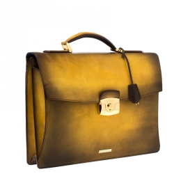 S.T. Dupont Yellow/Black Ombre Leather Atelier Document Holder Briefcase
