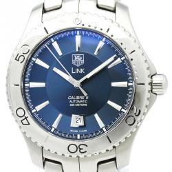 Tag Heuer Blue Stainless Steel Link Men's Wristwatch 42MM