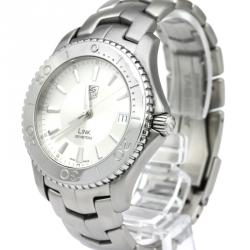 Tag Heuer Silver Stainless Steel Link Men's Wristwatch 39MM