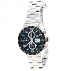 ac0da82999c Tag Heuer Black Stainless Steel Carrera CV2A10 Men s Wristwatch 43 mm