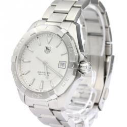 Tag Heuer Silver Stainless Steel Aquaracer Men's Wristwatch 40MM