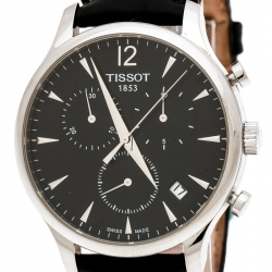Tissot Black Stainless Steel Tradition T063617A Chronograph Men's Wristwatch 42 mm