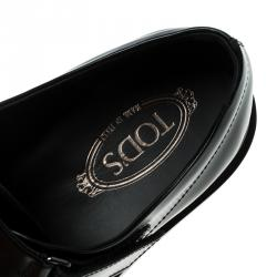 Tod's Black Leather Velcro Fastening Concealed Loafers Size 41.5