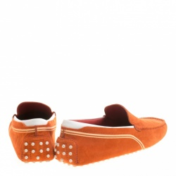 Tod's For Ferrari Orange and White Suede Loafers Size 44