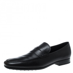 Tod's Black Leather Penny Loafers Size 47
