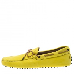 Tod's Yellow Suede with Contrast Braided Bow Loafers Size 45