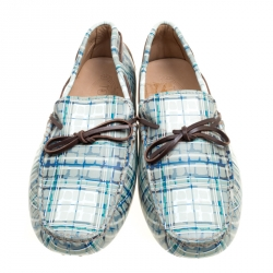 Tod's Abstract Print Leather Bow Loafers Size 42.5