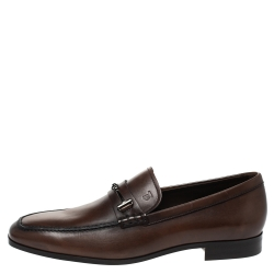 Tod's Brown Leather Horsebit Slip On Loafers Size 42