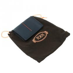 Tod's Navy Blue Leather Striped Card Case