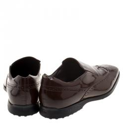 Tod's Brown Patent Brogue Leather Slip Ons Size 43