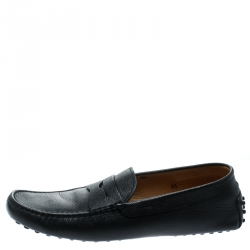 Tod's Dark Blue Leather Penny Moccasins Size 42.5
